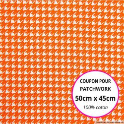 Coton imprimé pied de poule orange Coupon 50x45cm