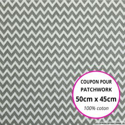 Coton imprimé petit zigzag gris Coupon 50x45cm