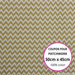 Coton imprimé petit zigzag beige Coupon 50x45cm