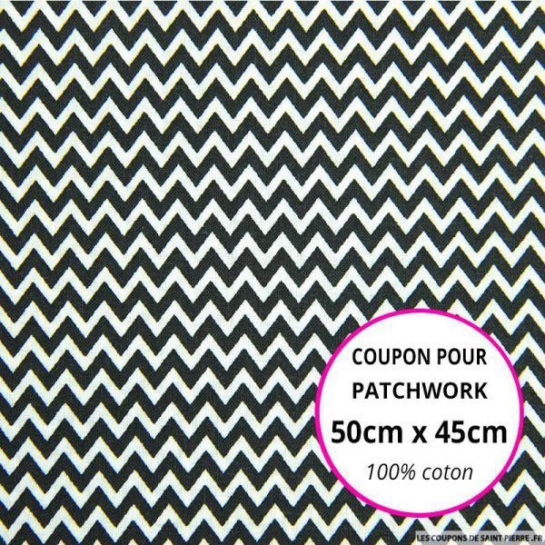 Coton imprimé petit zigzag noir Coupon 50x45cm