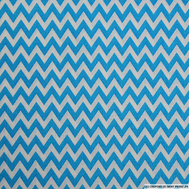 coton imprim grand zigzag bleu coupon 50x45cm. Black Bedroom Furniture Sets. Home Design Ideas