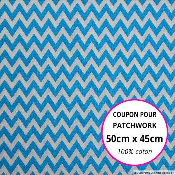 Coton imprimé petit zigzag bleu Coupon 50x45cm