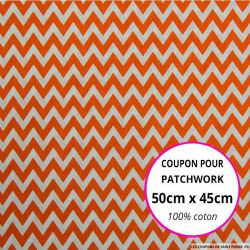 Coton imprimé grand zigzag orange Coupon 50x45cm