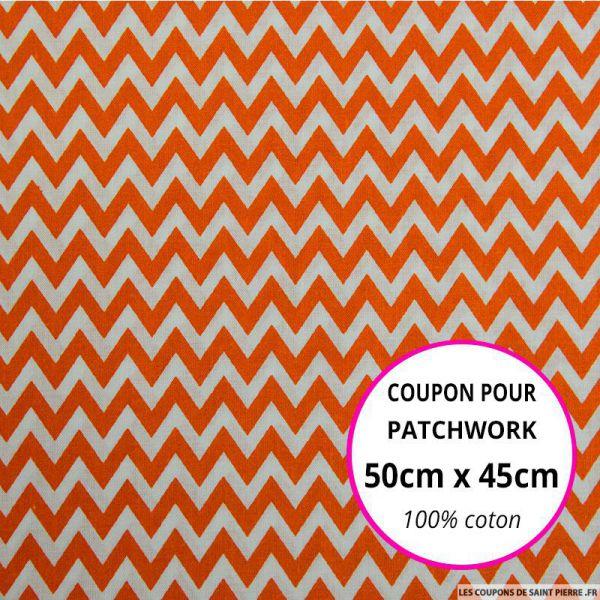 Coton imprimé grand zigzag orange Coupon 50x45cm