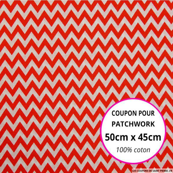 Coton imprimé grand zigzag rouge Coupon 50x45cm
