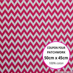 Coton imprimé grand zigzag rose Coupon 50x45cm