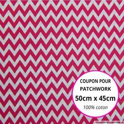 Coton imprimé petit zigzag rose Coupon 50x45cm