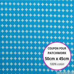Coton imprimé gros pois bleu Coupon 50x45cm