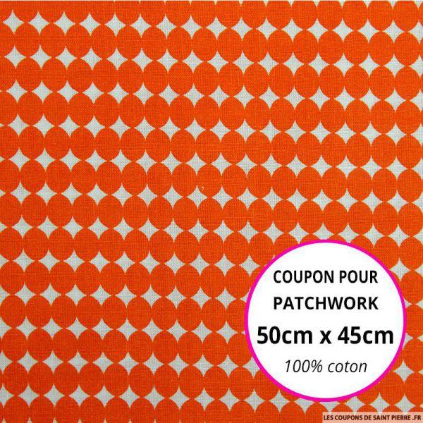 Coton imprimé gros pois orange Coupon 50x45cm