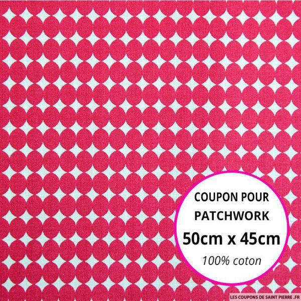 Coton imprimé gros pois rose Coupon 50x45cm