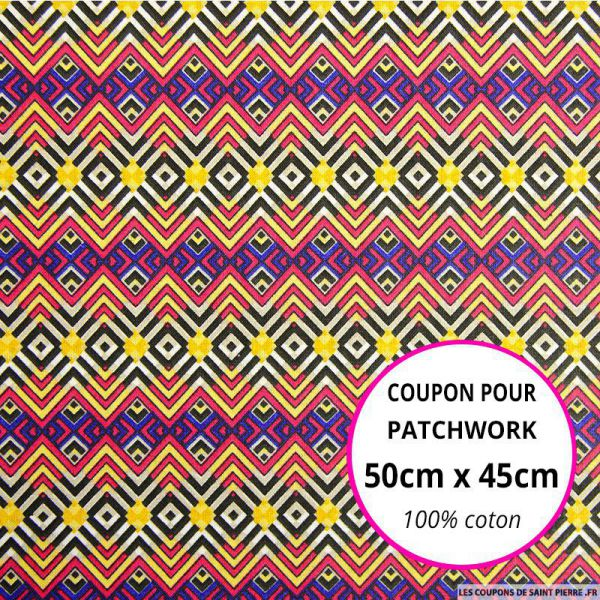 Coton imprimé aztèque violet Coupon 50x45cm