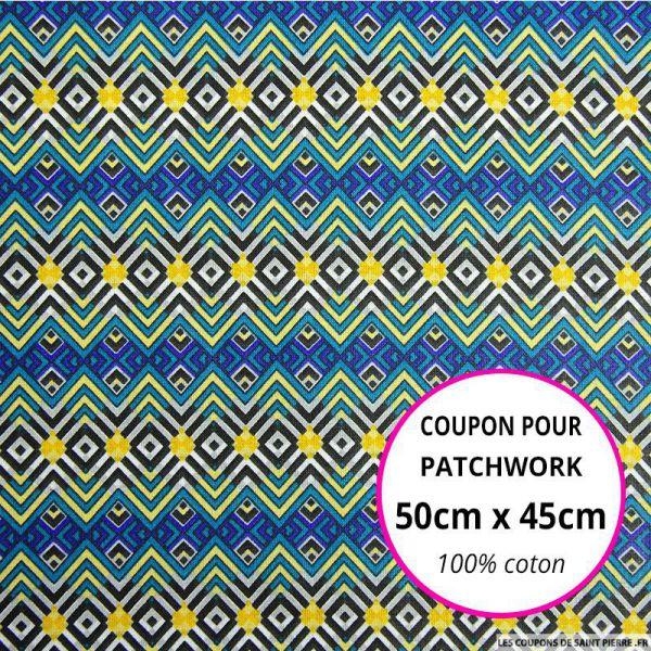 Coton imprimé aztèque bleu Coupon 50x45cm