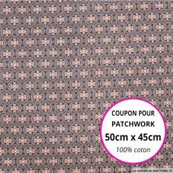 Coton imprimé vintage rose Coupon 50x45cm
