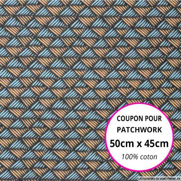 Coton imprimé scandinave bleu et saumon Coupon 50x45cm