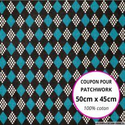 Coton imprimé château de cartes marron Coupon 50x45cm