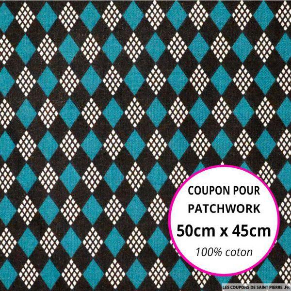 Coton imprimé château de cartes vert Coupon 50x45cm