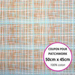 Coton imprimé graphique marron et bleu Coupon 50x45cm