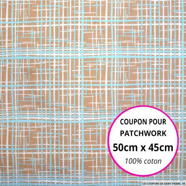 CCoton imprimé graphique marron et bleu 50x45cm