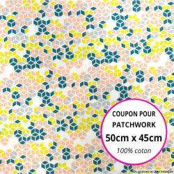 Coton imprimé cubique saumon et vert Coupon 50x45cm