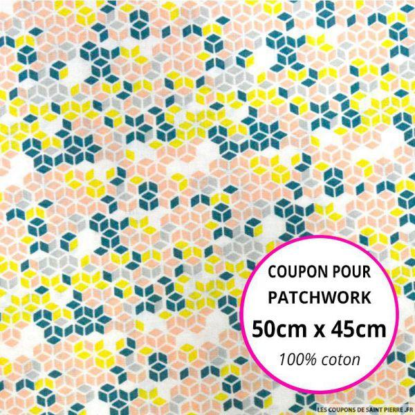 Coton imprimé cubique saumon et vert 50x45cm