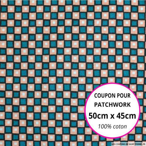 Coton imprimé carreaux saumon et vert 50x45cm