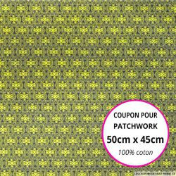 Coton imprimé vintage citron Coupon 50x45cm
