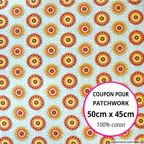 Coton imprimé rosaces orange et jaune 50x45cm
