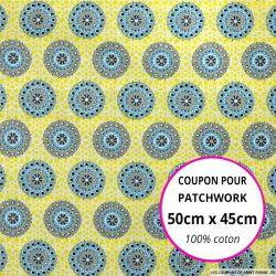 Coton imprimé rosaces jaune et ciel 50x45cm