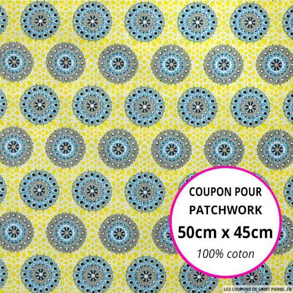 Coton imprimé rosaces jaune et ciel  Coupon 50x45cm