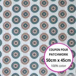 Coton imprimé rosaces saumon et vert 50x45cm