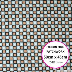 Coton imprimé carreaux marron et bleu 50x45cm