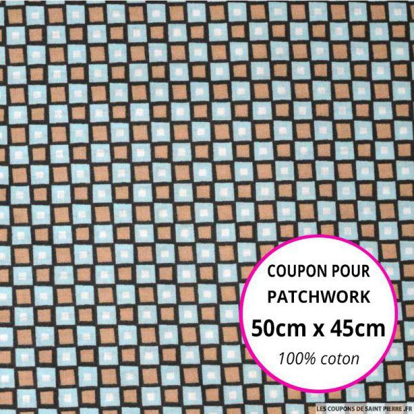 Coton imprimé carreaux marron et bleu Coupon 50x45cm
