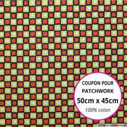 Coton imprimé carreaux rouge et citron Coupon 50x45cm