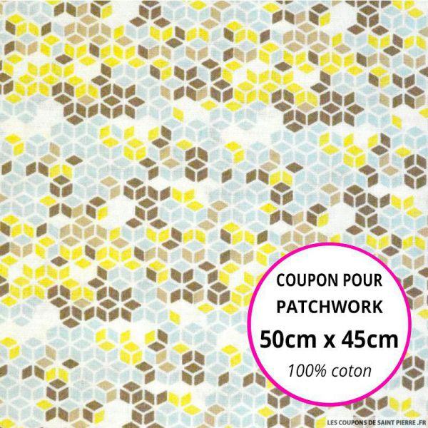 Coton imprimé cubique ciel et marron Coupon 50x45cm