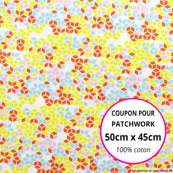 Coton imprimé cubique rouge, citron et ciel Coupon 50x45cm