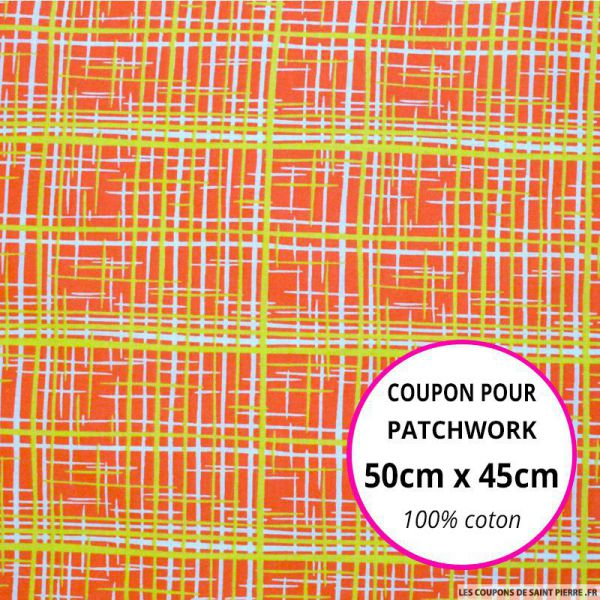 Coton imprimé graphique orange et citron Coupon 50x45cm