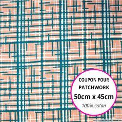 Coton imprimé graphique saumon et vert Coupon 50x45cm