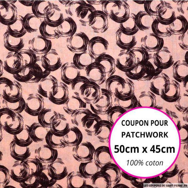 Coton imprimé vinyle rose Coupon 50x45cm