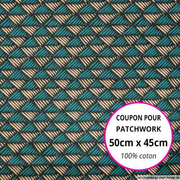 Coton imprimé scandinave vert et saumon 50x45cm