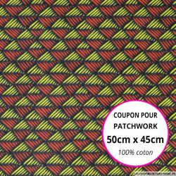 Coton imprimé scandinave rouge et citron Coupon 50x45cm