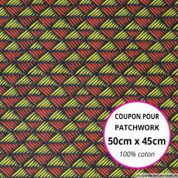 Coton imprimé scandinave rouge et citron 50x45cm