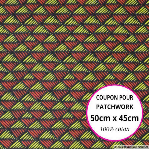 Coton imprimé scandinave rouge et citron Coupon 50x45cm