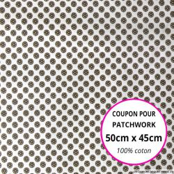 Coton imprimé boutons de fleurs marron 50x45cm