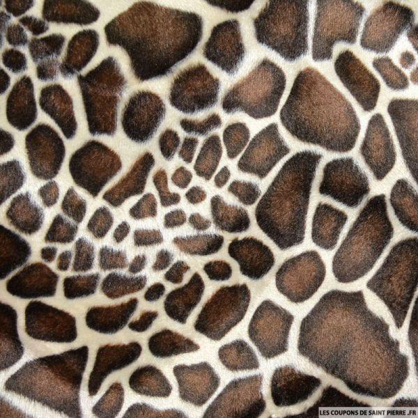Tissu Fourrure Synthétique Girafe beige et marron