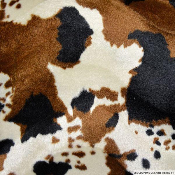 Tissu Fourrure Synthétique Vache noir et marron