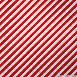 Coton imprimé rayures diagonales rouge