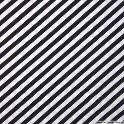 Coton imprimé rayures diagonales noir