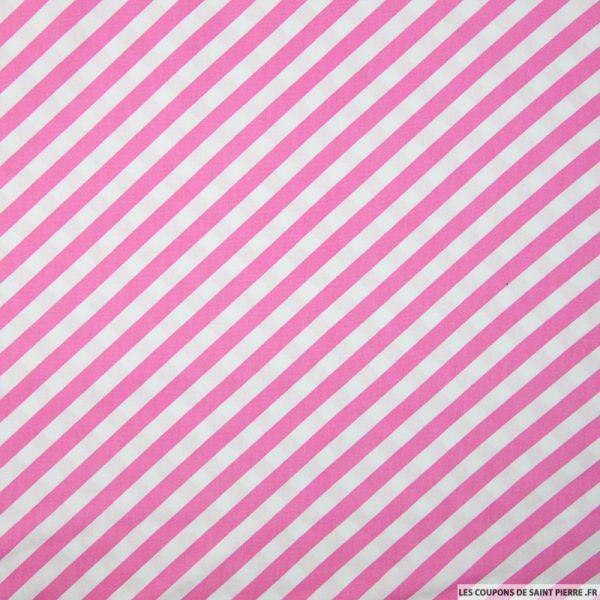 Coton imprimé rayures diagonales rose
