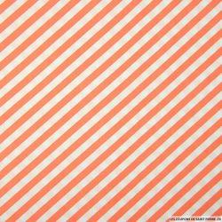 Coton imprimé rayures diagonales corail