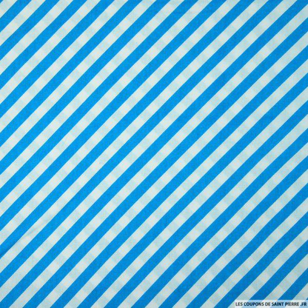 Coton imprimé rayures diagonales bleu